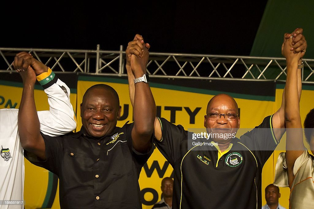 ANC President Jacob Zuma (R) and his new deputy Cyril Ramaphosa (L) after their election at the ANC's elective conference on December 18, 2012 in Mangaung, South Africa.