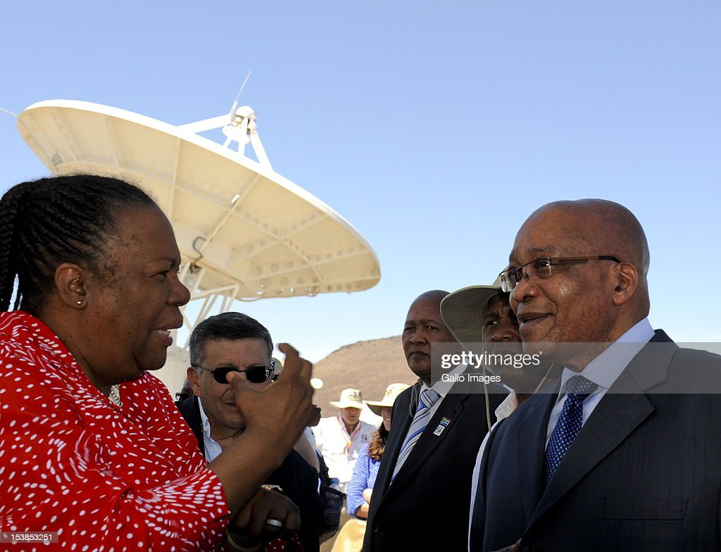 President <a gi-track='captionPersonalityLinkClicked' href=/galleries/search?phrase=Jacob+Zuma&family=editorial&specificpeople=564982 ng-click='$event.stopPropagation()'>Jacob Zuma</a> and outgoing Science and Technology Minister Naledi Pandor visit the Square Kilometre Array site on October 9, 2012 in Carnarvon, South Africa. President Zuma called the project an opportunity to recruit the youth to pursue careers in science and technology.
