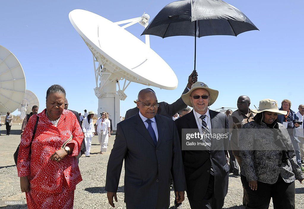 President Jacob Zuma and outgoing Science and Technology Minister Naledi Pandor (L) visit the Square Kilometre Array site (SKA) on October 9, 2012 in Carnarvon, South Africa. President Zuma called the project an opportunity to recruit the youth to pursue careers in science and technology.