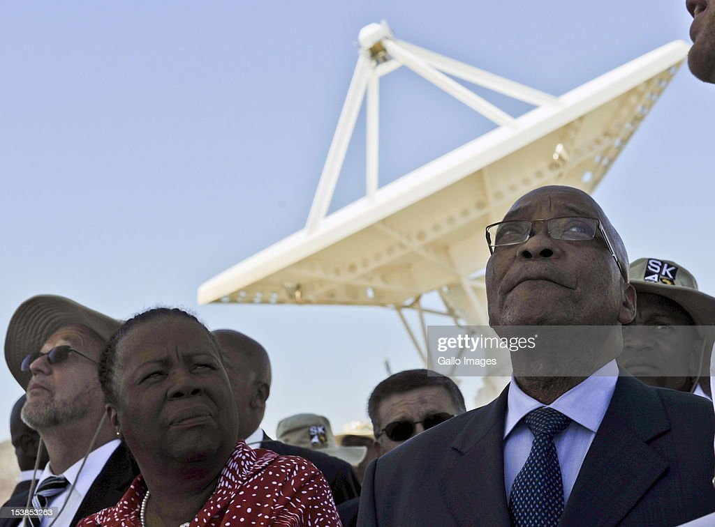 President <a gi-track='captionPersonalityLinkClicked' href=/galleries/search?phrase=Jacob+Zuma&family=editorial&specificpeople=564982 ng-click='$event.stopPropagation()'>Jacob Zuma</a> and outgoing Science and Technology Minister Naledi Pandor visit the Square Kilometre Array site (SKA) on October 9, 2012 in Carnarvon, South Africa. President Zuma called the project an opportunity to recruit the youth to pursue careers in science and technology.