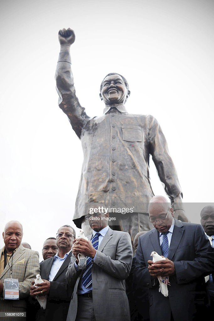 President Jacob Zuma and the premier of the Free State Ace Magashule release white doves during the Nelson Mandela statue unvailing in Mangaung on December 13, 2012, in Bloemfontein, South Africa.