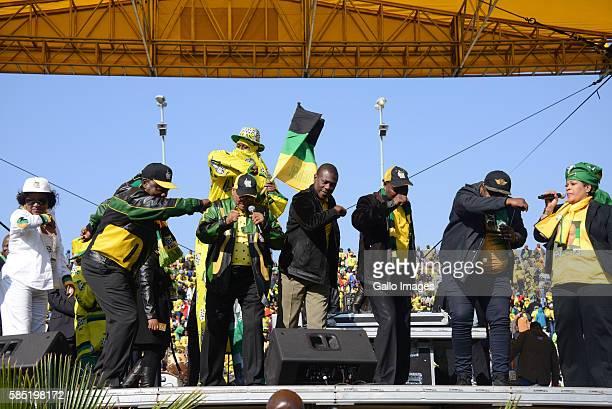 President Jacob Zuma Cyril Ramaphosa Baleka Mbete Paul Mashatile and ANC members do the dabbing dance during the African National Congress Siyanqoba...