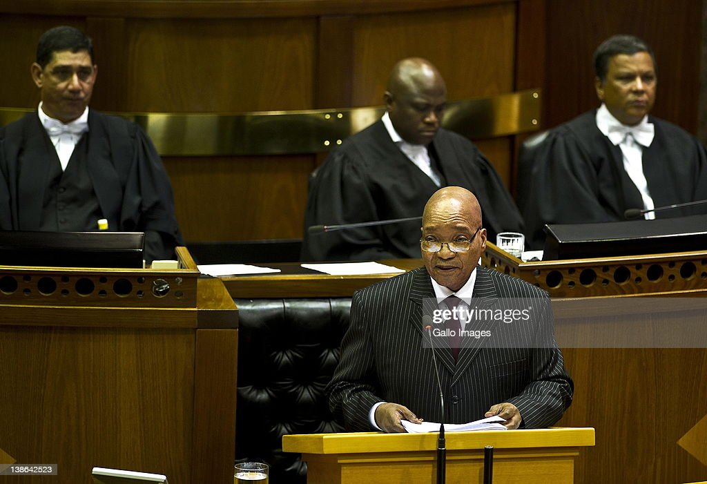 President Jacob Zuma delivers his State of the Nation Address at the opening of Parliament in Cape Town, South Africa on 9 February 2012. Parliament was opened in the annual ceremony where President Jacob Zuma delivered his state of the nation address.