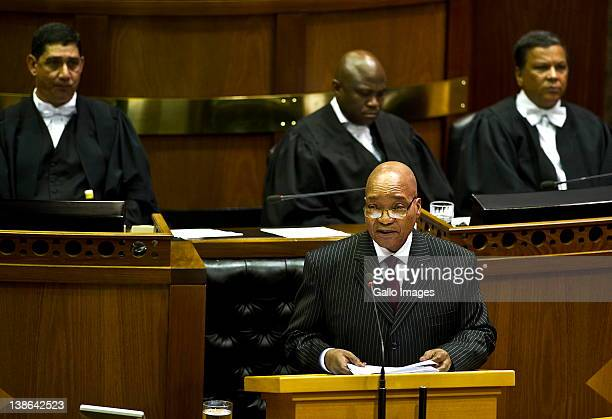 President Jacob Zuma delivers his State of the Nation Address at the opening of Parliament in Cape Town South Africa on 9 February 2012 Parliament...