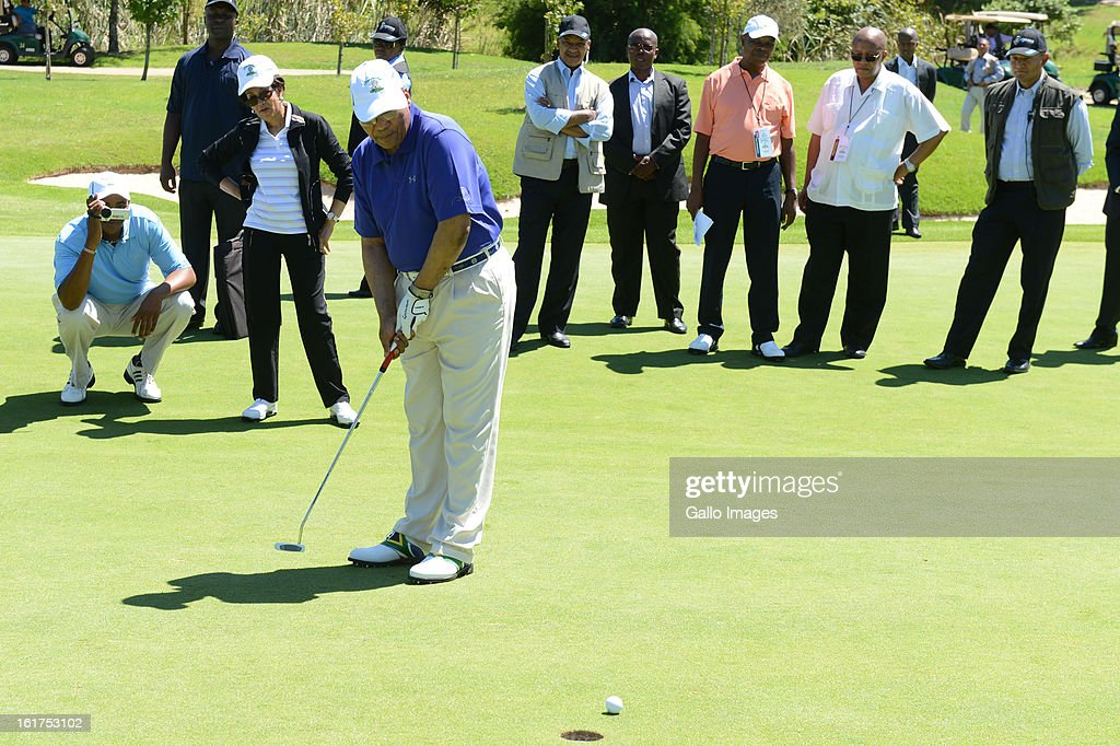 President Jacob Zuma in action during the annual Presidential Address Golf Challenge golf day at De Zalze Golf Club on February 15, 2013 in Stellenbosch, South Africa. Proceeds from today's challenge, hosted by the Ministry for Public Service and Administration, will go to the Jacob Zuma RDP Education Trust.