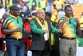 President Jacob Zuma is flanked by ANC Gauteng chairman Paul Mashatile and ANC Gauteng deputy chairperson David Makhura during the partys provincial...