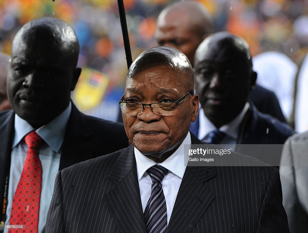 President Jacob Zuma looks on ahead of the 2013 Orange African Cup of Nations match between South Africa and Cape Verde Islands at the National Stadium on January 19, 2013 in Johannesburg, South Africa.