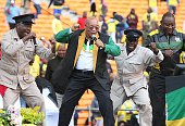 President Jacob Zuma performs with Solly Moholo during the Gauteng ANC manifesto launch at FNB Stadium on June 04 2016 in Johannesburg South Africa...