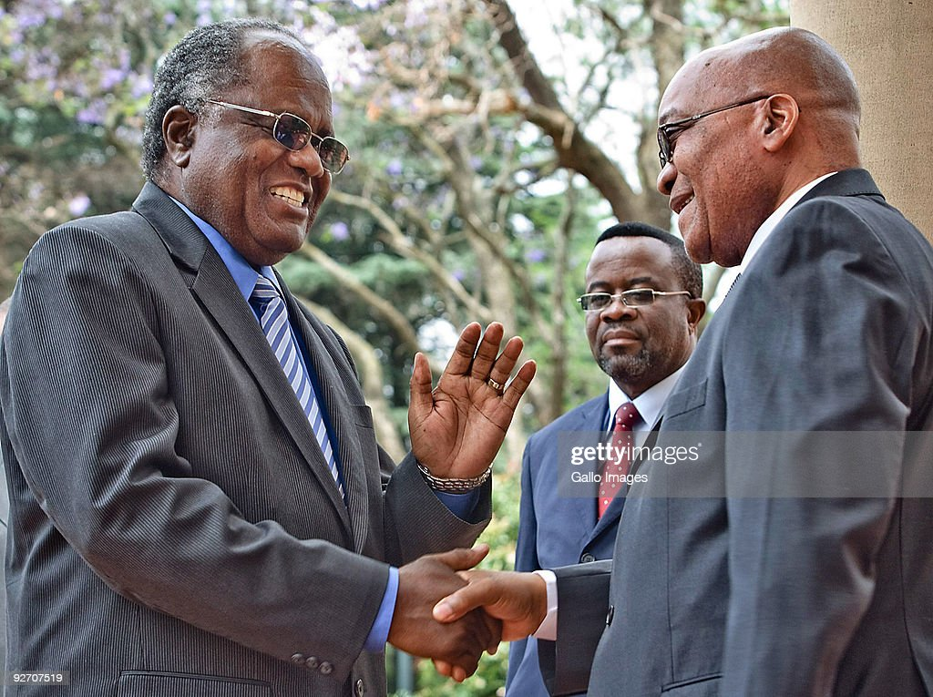 President <a gi-track='captionPersonalityLinkClicked' href=/galleries/search?phrase=Jacob+Zuma&family=editorial&specificpeople=564982 ng-click='$event.stopPropagation()'>Jacob Zuma</a> receives his Namibian counterpart, President <a gi-track='captionPersonalityLinkClicked' href=/galleries/search?phrase=Hifikepunye+Pohamba&family=editorial&specificpeople=863215 ng-click='$event.stopPropagation()'>Hifikepunye Pohamba</a> at the Presidential Guesthouse on November 3, 2009 in Pretoria, South Africa. They met to discuss issues during the meeting of the Heads of State Economic Bilateral Forum between the two countries.
