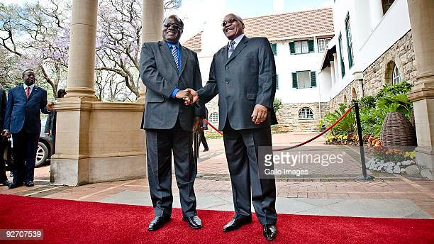 President Jacob Zuma receives his Namibian counterpart President Hifikepunye Pohamba at the Presidential Guesthouse on November 3 2009 in Pretoria...