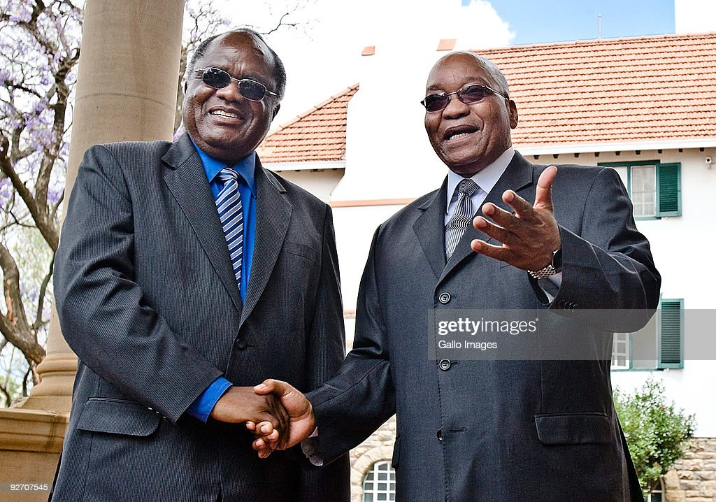President Jacob Zuma receives his Namibian counterpart, President Hifikepunye Pohamba at the Presidential Guesthouse on November 3, 2009 in Pretoria, South Africa. They met to discuss issues during the meeting of the Heads of State Economic Bilateral Forum between the two countries.