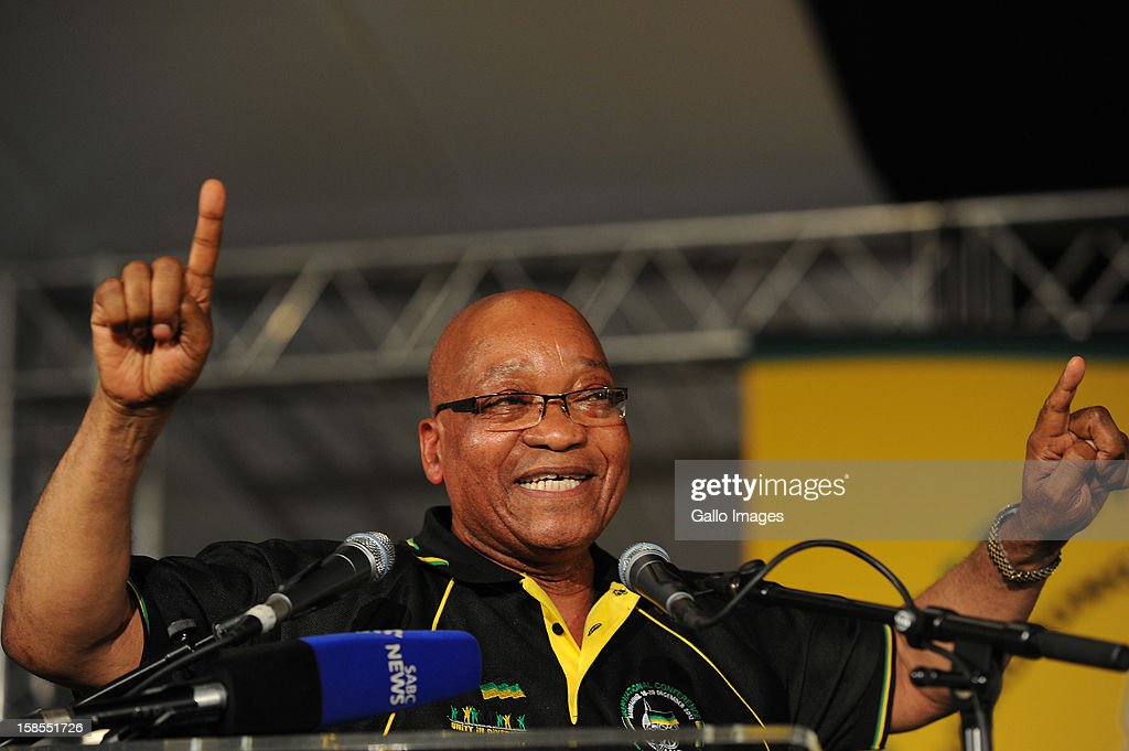 President Jacob Zuma singing after being re-elected president of the ANC on Day 3 of the ANC Conference on December 18, 2012, in Bloemfontein, South Africa. Cyril Ramaphosa was elected Deputy President, Gwede Mantashe Secretary General and Jesse Duarte as Deputy Secretary General.