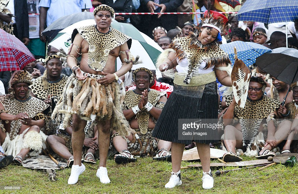 President Jacob Zuma sings and dances with his new bride Thobeka Madiba during their wedding ceremony at Zuma�s rural homestead on January 4 2010 in...