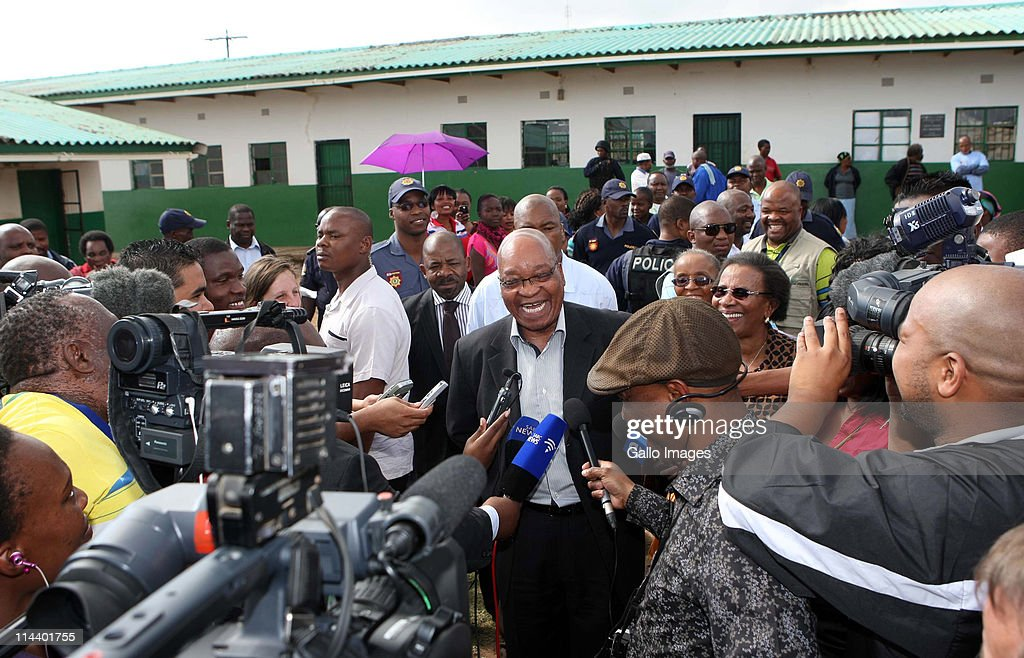 President Jacob Zuma speaks to the press after casting his vote at Ntolwane Primary School in Nkandla KwaZulu Natal province on May 18 2011 in...