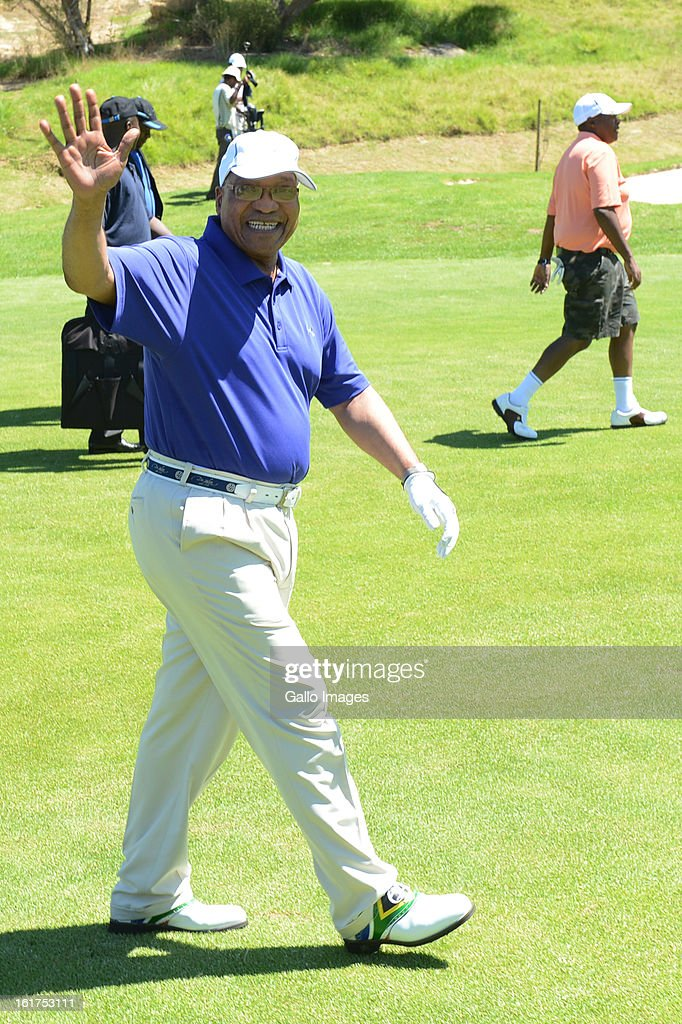 President Jacob Zuma takes part in the annual Presidential Address Golf Challenge golf day at De Zalze Golf Club on February 15, 2013 in Stellenbosch, South Africa. Proceeds from today's challenge, hosted by the Ministry for Public Service and Administration, will go to the Jacob Zuma RDP Education Trust.
