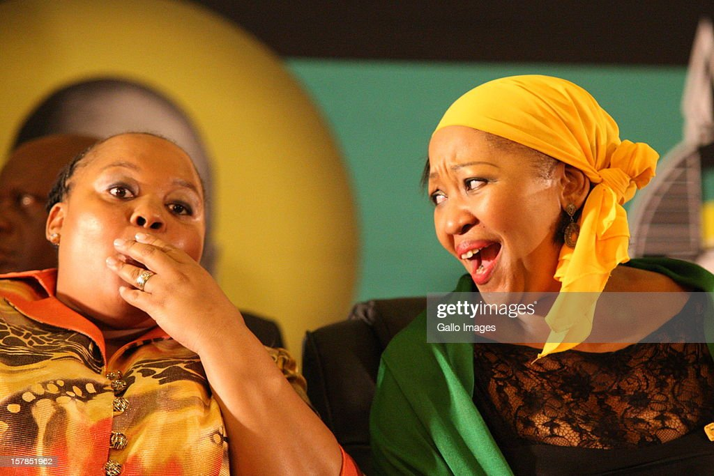President Jacob Zuma's wives, MaNtuli and Thobeka Madiba, at the Jacob Zuma Centennial lecture on December 6, 2012 in Potchefstroom, South Africa. The lecture is part of the ANC's centenary celebrations honouring the party's presidents, and is the last before their elective conference in Mangaung.