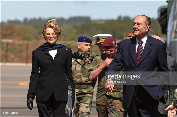 President Jacques Chirac visits the FrancoGerman academy for Tiger helicopter pilots in Le Luc France on April 19 2005 With Michele Alliot Marie...