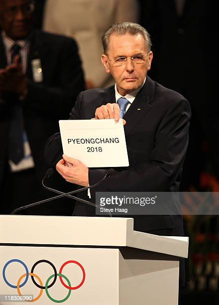 President Jacques Rogge announces PyeongChang as the host city for the 2018 Olympic Winter Games during the 123rd IOC session on July 6 2011 in...