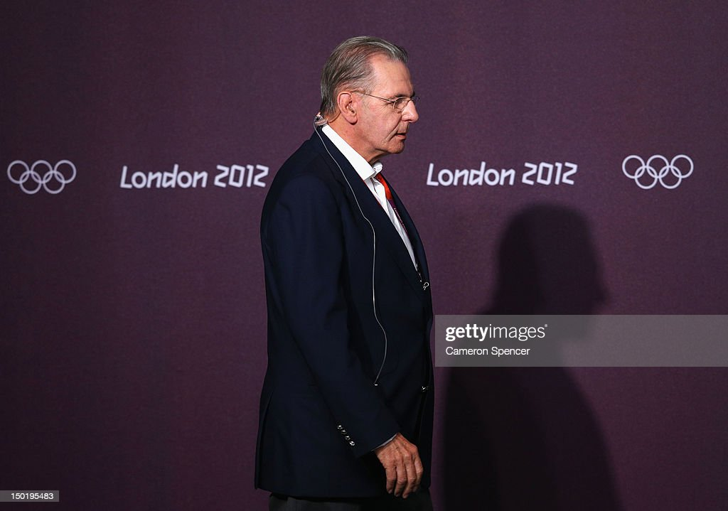IOC president <a gi-track='captionPersonalityLinkClicked' href=/galleries/search?phrase=Jacques+Rogge&family=editorial&specificpeople=206143 ng-click='$event.stopPropagation()'>Jacques Rogge</a> arrives for an IOC/LOCOG closing media conference on Day 16 of the London 2012 Olympic Games at the Main Media Conference Room in Olympic Park on August 12, 2012 in London, England.