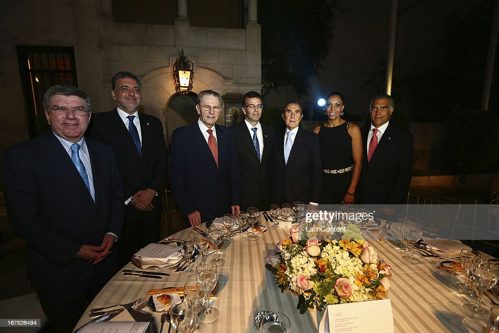 President <a gi-track='captionPersonalityLinkClicked' href=/galleries/search?phrase=Jacques+Rogge&family=editorial&specificpeople=206143 ng-click='$event.stopPropagation()'>Jacques Rogge</a>, COP President Jose Quiñones, Minister of Tourism and Foreign Trade of Peru Jose Silva, IOC Member Iván Dibós and guest pose for a picture during the gala dinner on the second day of the 15th IOC World Conference Sports For All at Casa García Alvarado on April 25, 2013 in Lima, Peru.