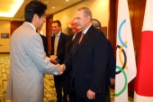 President Jacques Rogge meets Shinzo Abe Prime Minister of Japan and other delegates of Tokyo 2020 at the Hilton Hotel on September 6 2013 in Buenos...