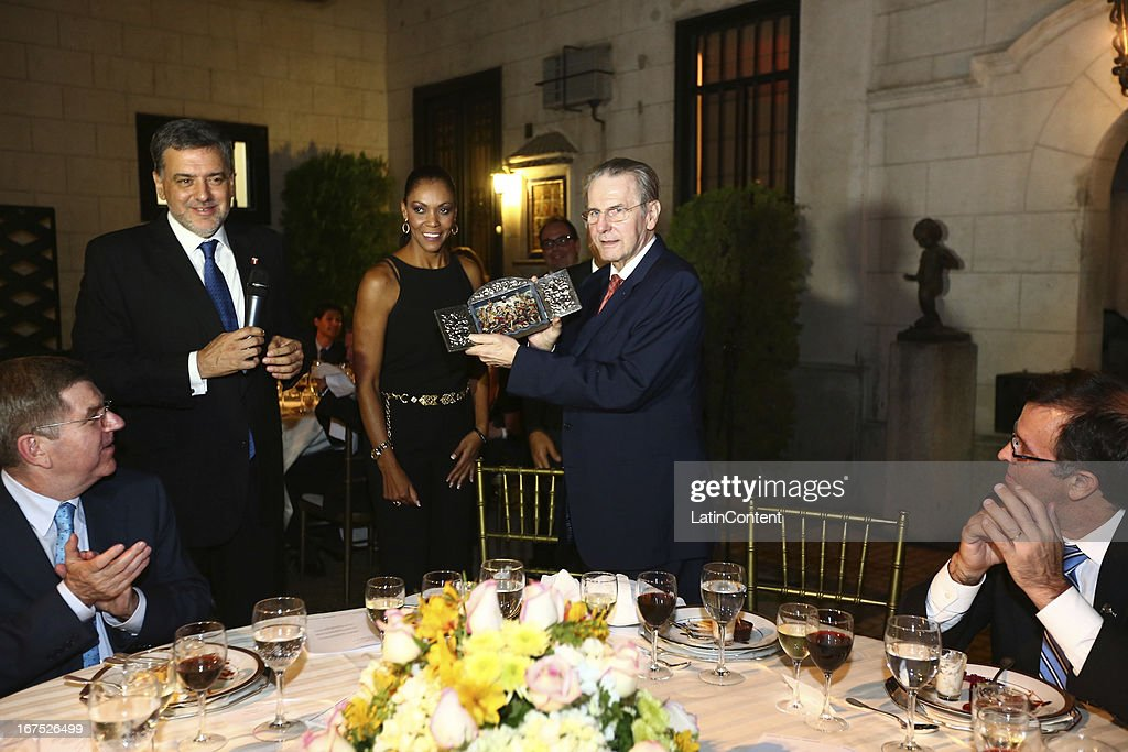 President <a gi-track='captionPersonalityLinkClicked' href=/galleries/search?phrase=Jacques+Rogge&family=editorial&specificpeople=206143 ng-click='$event.stopPropagation()'>Jacques Rogge</a> receives a present from Olympic Peruvian Committee President during the gala dinner on the second day of the 15th IOC World Conference Sports For All at Casa García Alvarado on April 25, 2013 in Lima, Peru.
