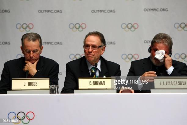 President Jacques Rogge Rio de Janeiro bid leader Carlos Nuzman and Brazilian President Luiz Inacio Lula da Silva attend a press conference after Rio...