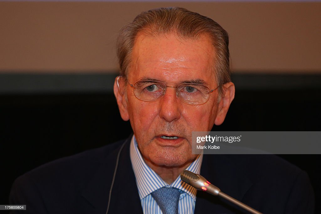 President <a gi-track='captionPersonalityLinkClicked' href=/galleries/search?phrase=Jacques+Rogge&family=editorial&specificpeople=206143 ng-click='$event.stopPropagation()'>Jacques Rogge</a> speaks to the media during the IAAF/IOC joint meeting press conference at the Radisson Royal Hotel on August 9, 2013 in Moscow, Russia.