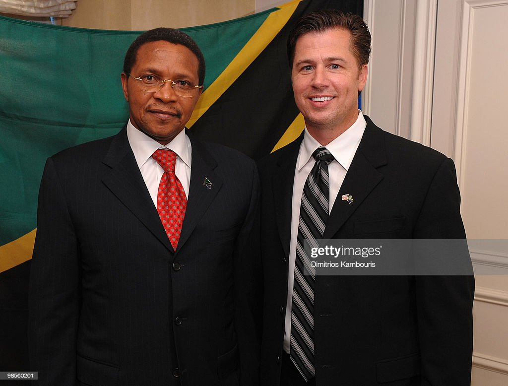 President <a gi-track='captionPersonalityLinkClicked' href=/galleries/search?phrase=Jakaya+Kikwete&family=editorial&specificpeople=547422 ng-click='$event.stopPropagation()'>Jakaya Kikwete</a> (L) and Goodwill Ambassador Doug Pitt pose during an interview as Doug Pitt is named Goodwill Ambassador of the United Republic of Tanzania hosted by President <a gi-track='captionPersonalityLinkClicked' href=/galleries/search?phrase=Jakaya+Kikwete&family=editorial&specificpeople=547422 ng-click='$event.stopPropagation()'>Jakaya Kikwete</a> at Essex House on April 19, 2010 in New York City.