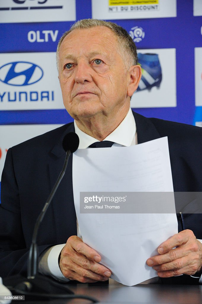 President Jean Michel Aulas during press conference of new signing player of Olympique Lyonnais Nicolas Nkoulou on June 29, 2016 in Lyon, France.