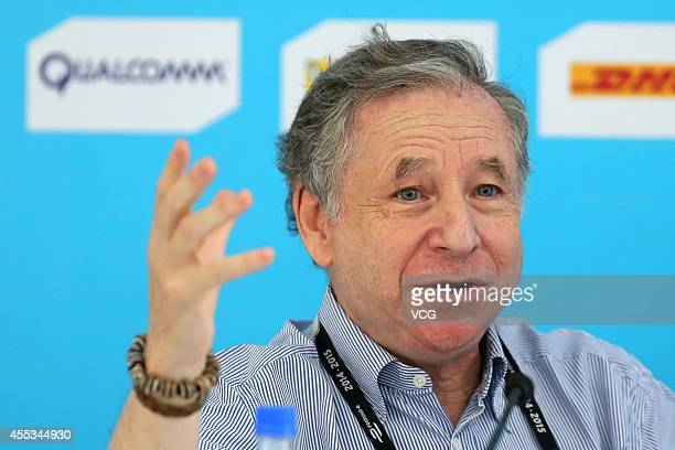 FIA President Jean Todt attends a press conference during the 2014/2015 FIA Formula E Championship Round 1 game day on September 13 2014 in Beijing...