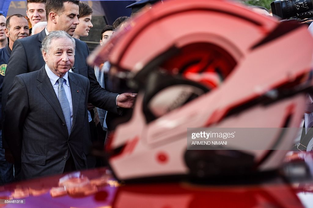 FIA President Jean Todtlooks on during his visit of the Kosovo Automobile Racers in Pristina on May 26, 2016 as part of his first visit to Kosovo. / AFP / ARMEND