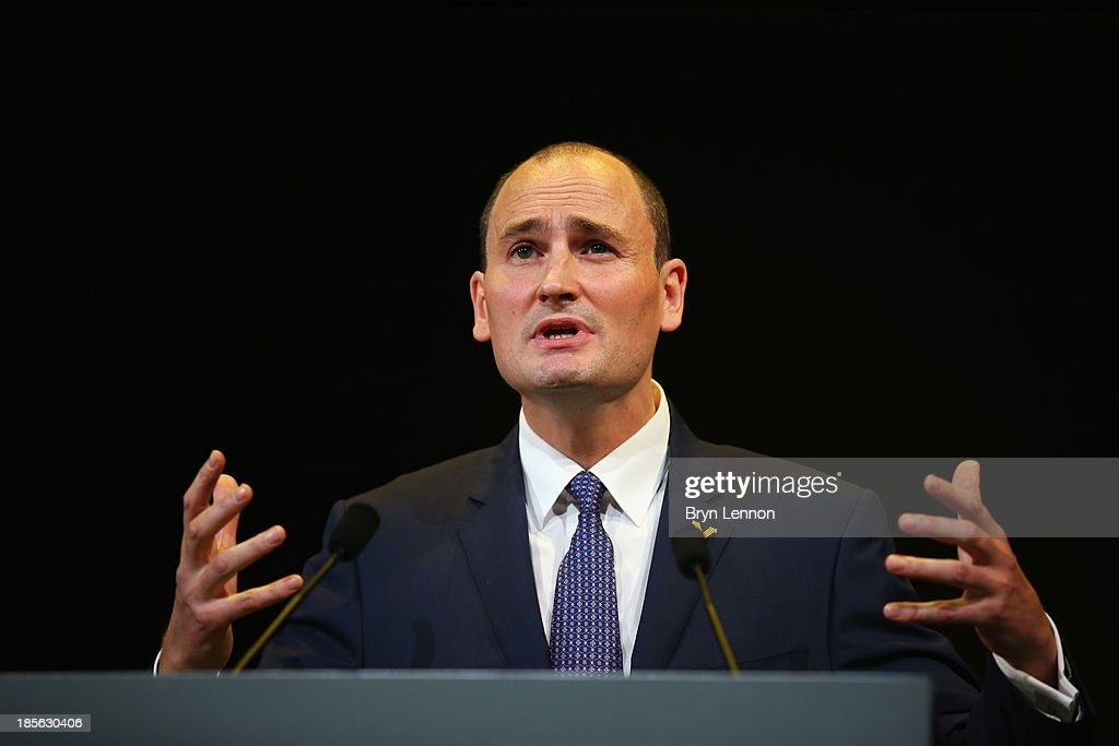 President Jean-Etienne Amaury addresses the audience during the route presentation of 2014 Tour de France at the Palais des Congres de Paris on October 23, 2013 in Paris, France. The 101st edition of the Tour de France will start with 3 stages in England.