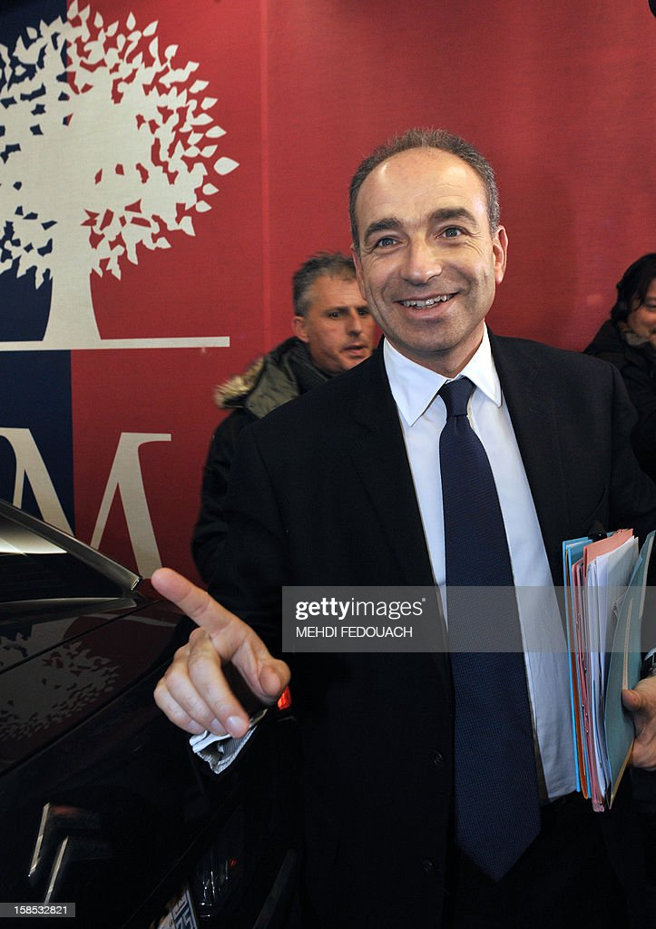 UMP president Jean-Francois Cope arrive to a press conference at the UMP headquarters on December 18, 2012 in Paris. Cope and Francois Fillon, the rivals in the leadership row which split French former ruling party, the UMP, agreed on December 17, 2012 to a new internal election after a bitterly-contested first vote last month. AFP PHOTO