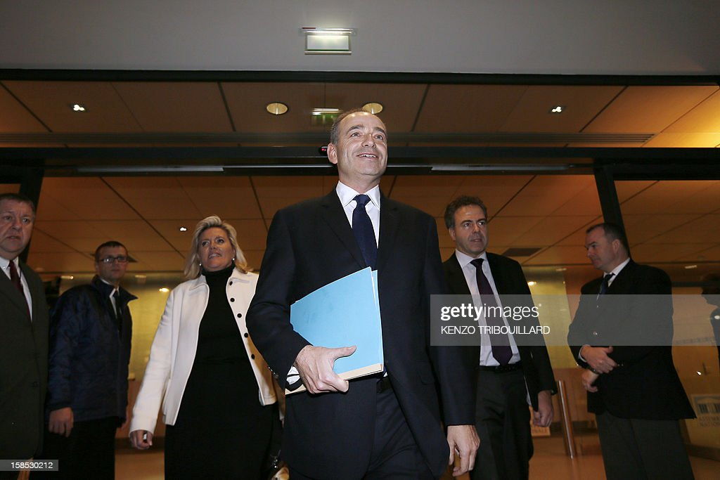 UMP president Jean-Francois Cope (C), UMP general secretary Michele Tabarot (3rdL) and former Education minister Luc Chatel (2ndR) leave a UMP political bureau which validated a new internal election, on December 18, 2012 at the National Assembly in Paris. Cope and Francois Fillon, the rivals in the leadership row which split French former ruling party, the UMP, agreed on December 17, 2012 to a new internal election after a bitterly-contested first vote last month.