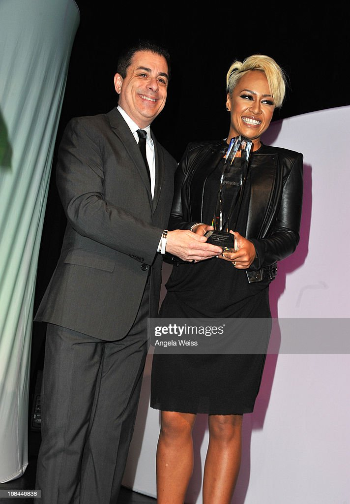 NARM president Jim Donio and singer Emeli Sande attend the 2013 Music Biz Awards presented by NARM and digitalmusic.org at the Hyatt Regency Century Plaza on May 9, 2013 in Century City, California.