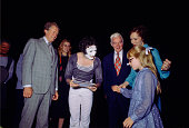 President Jimmy Carter and French mime artist Marcel Marceau with First Lady Rosalynn Carter and Amy Carter after Marceau's performance at the...