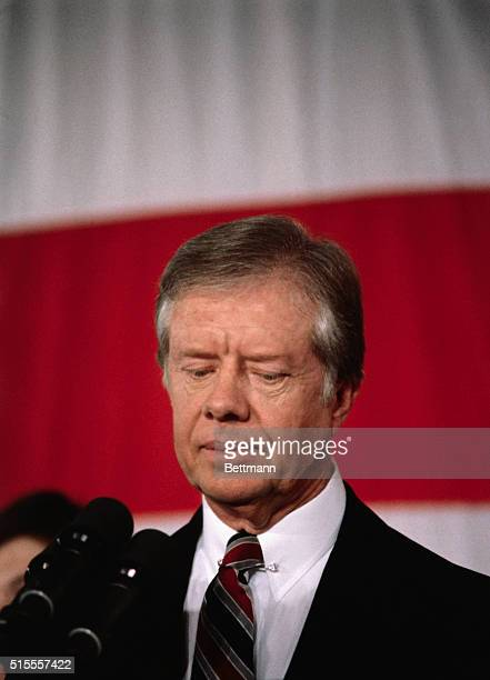 US President Jimmy Carter conceding to Ronald Reagan Closeup of Carter with depressed expression on his face