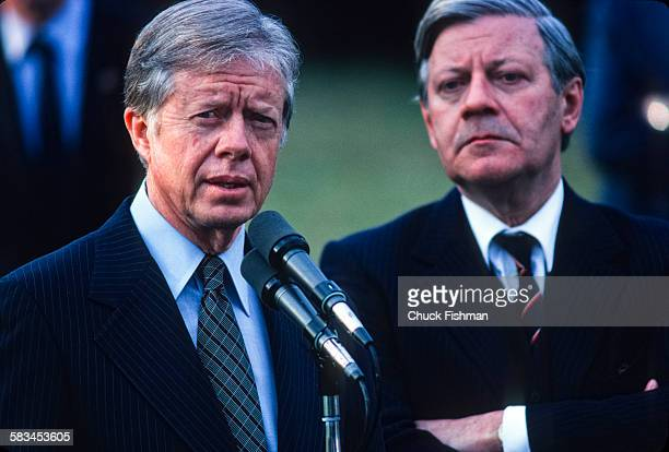 President Jimmy Carter left with German Chancellor Helmut Schmidt at the White House Washington DC March 1980