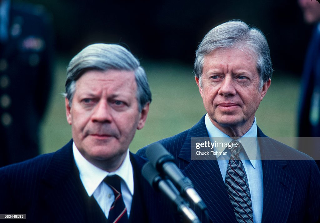 President Jimmy Carter, right, with German Chancellor Helmut Schmidt at the White House, Washington, DC, March 1980.