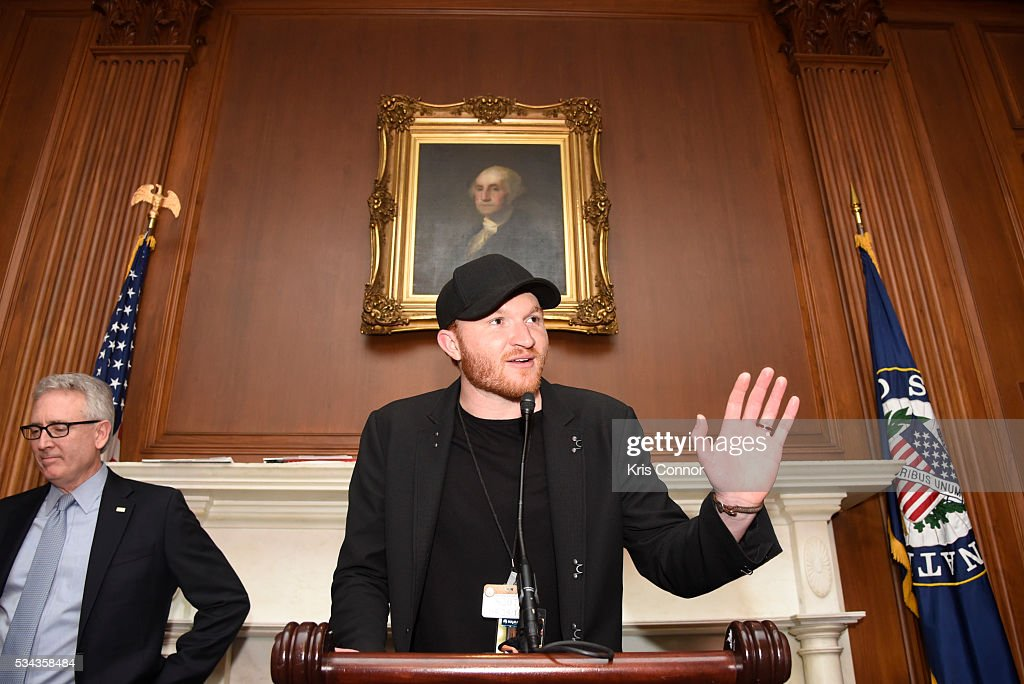 President Joe Lamond and Eric Paslay speak the CMA NAMM VH1 Congressional Reception for Music Education at the US Capitol on May 25 2016 in...
