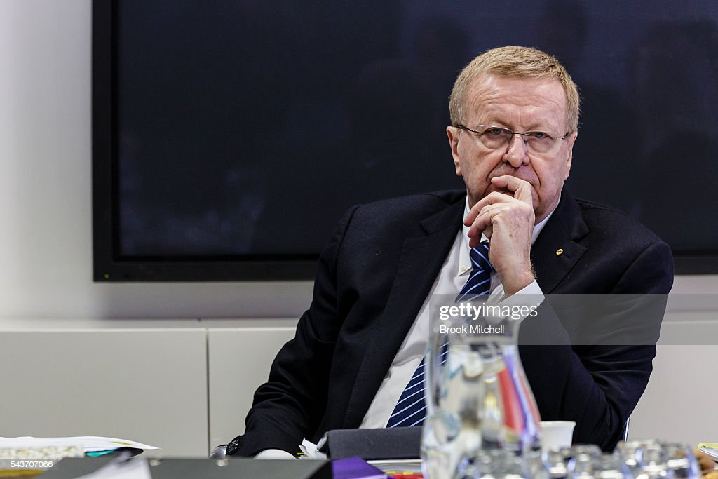 President <a gi-track='captionPersonalityLinkClicked' href=/galleries/search?phrase=John+Coates&family=editorial&specificpeople=233445 ng-click='$event.stopPropagation()'>John Coates</a> looks on at the AOC Executive Board Meeting at Museum of Contemporary Art on June 30, 2016 in Sydney, Australia. Australian target shooter Michael Diamond fronts the AOC board in bid for Rio Olympic selection.