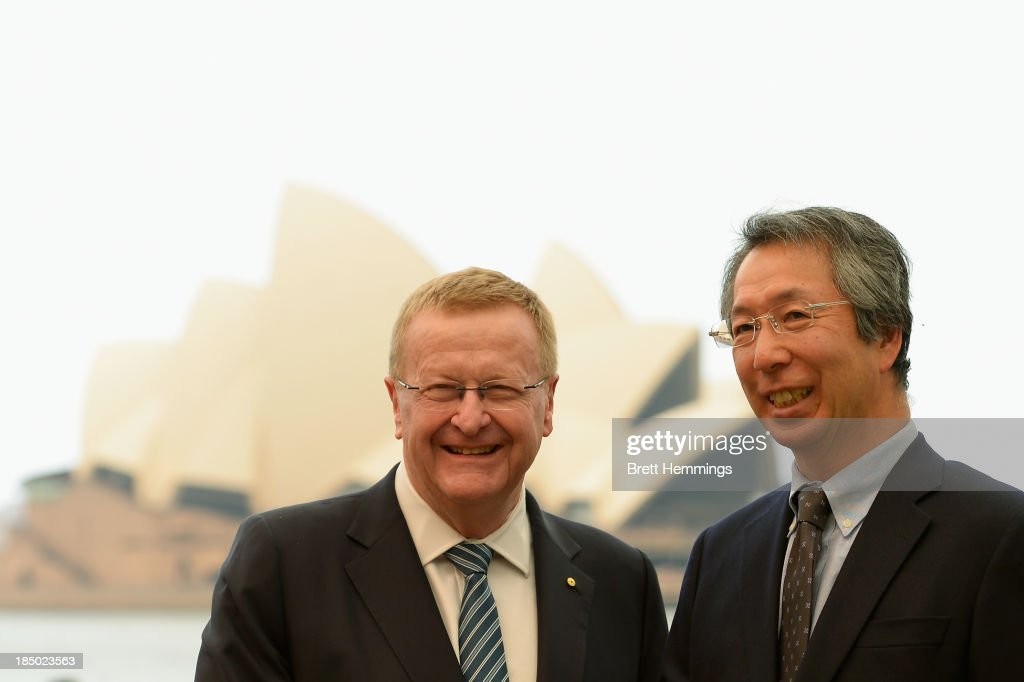 President <a gi-track='captionPersonalityLinkClicked' href=/galleries/search?phrase=John+Coates&family=editorial&specificpeople=233445 ng-click='$event.stopPropagation()'>John Coates</a> poses for a photo with the Japanese Ambassador, Yoshitaka Akimoto in front of the Sydney Opera House on October 17, 2013 in Sydney, Australia. Coates last night was named Chairman of the 2020 Tokyo IOC Coordination Commission.