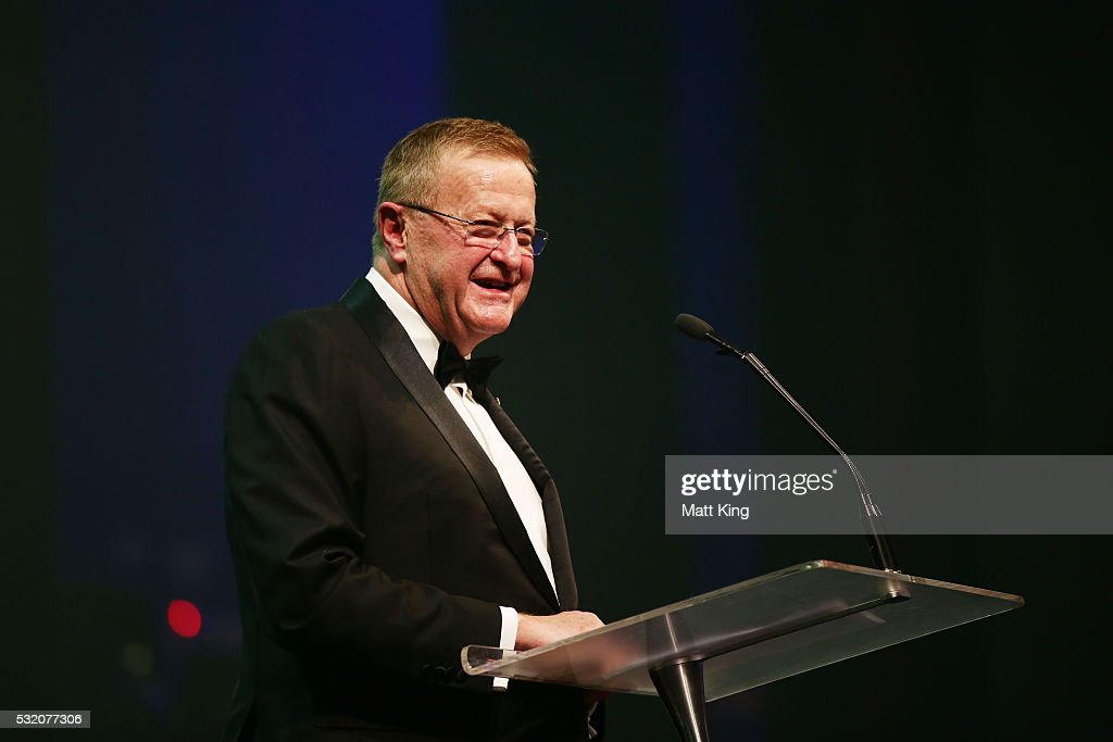President <a gi-track='captionPersonalityLinkClicked' href=/galleries/search?phrase=John+Coates&family=editorial&specificpeople=233445 ng-click='$event.stopPropagation()'>John Coates</a> speaks during the AOC Athlete Farewell Dinner at The Star on May 18, 2016 in Sydney, Australia.