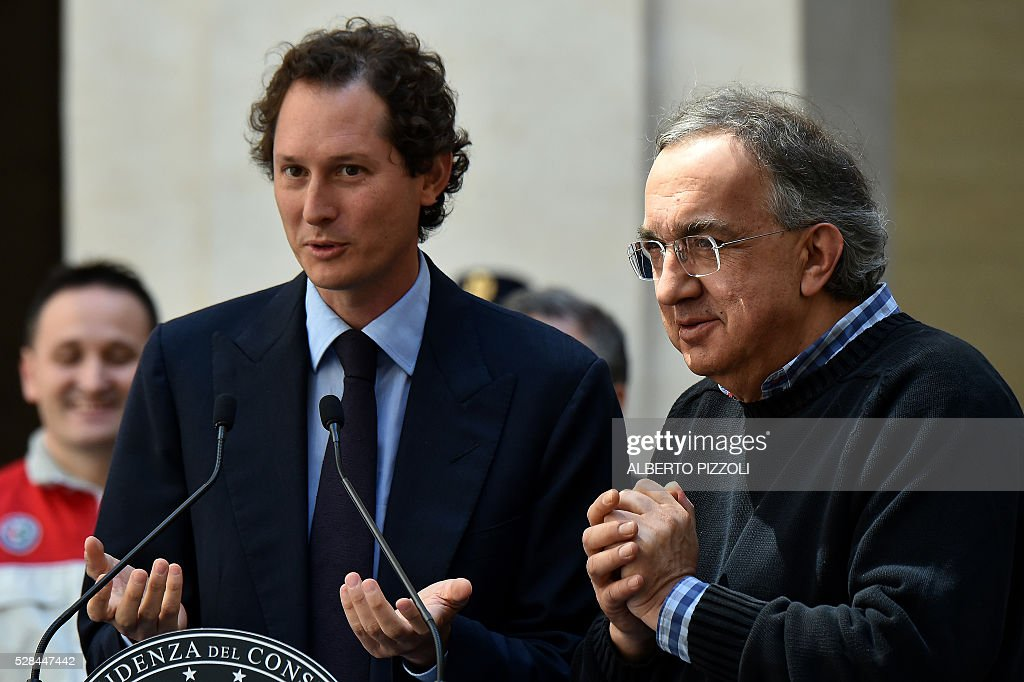 FCA (FIAT) President John Elkann and CEO Sergio Marchionne are pictured during the presentation of the new FCA (FIAT) car 'Giulia' on May 5, 2016 at Chigi palace in Rome. / AFP / ALBERTO