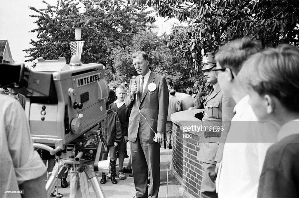 NBC NEWS -- 'President John F. Kennedy 1963 European Tour' -- Pictured: NBC News' Ray Scherer during President John F. Kennedy's European Tour on June 23, 1963 in Bonn, West Germany --