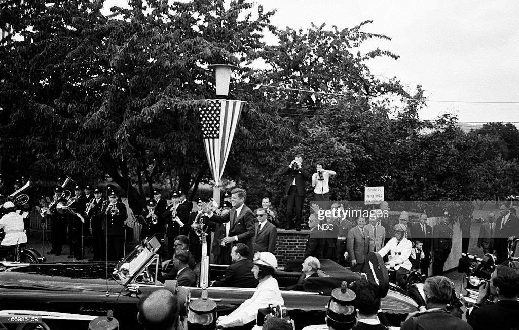 NBC NEWS -- 'President John F. Kennedy 1963 European Tour' -- Pictured: President John F. Kennedy arrives in Bonn during his European Tour on June 23, 1963 in Bonn, West Germany --