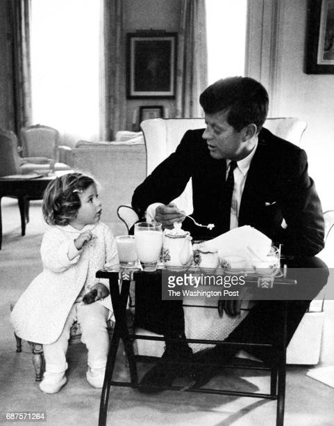 S President John F Kennedy and daughter Caroline converge at breakfast in 1961 in Washington DC