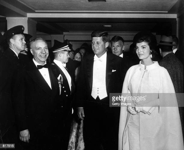 President John F Kennedy and First Lady Jacqueline Kennedy attend the inaugural ball January 20 1961 in Washington DC