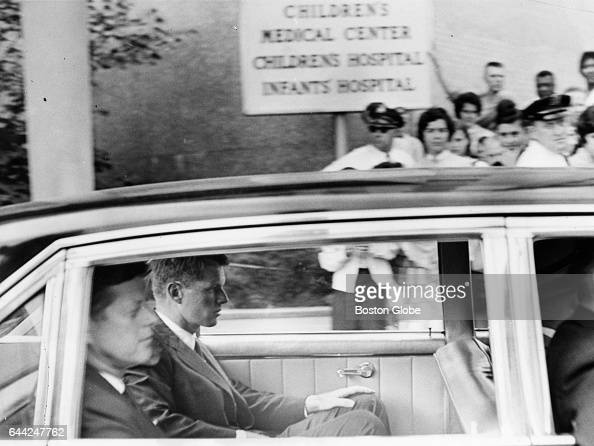 President John F Kennedy and his brother Robert Kennedy leave Children's Hospital in Boston on Aug 8 1963 His third son Patrick Bouvier Kennedy was...